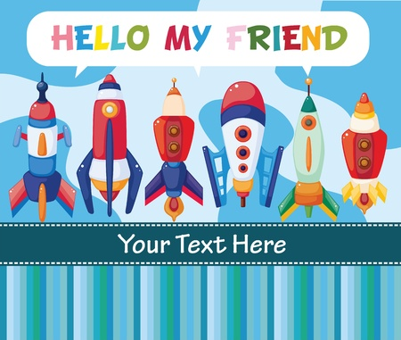 birthday invitation: cartoon spaceship card Illustration