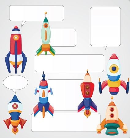 cartoon spaceship card Vector