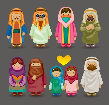 arab girl: cartoon Arabian people icons
