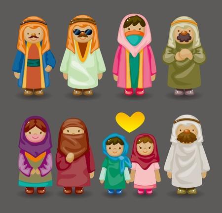 kopftuch: Cartoon arabischen Menschen Symbole