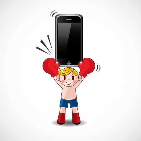 boxer hold phone Stock Vector - 11383166