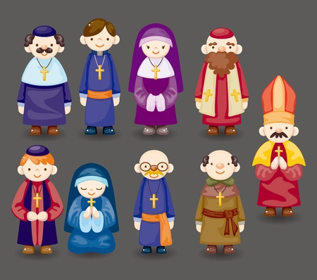 cartoon priest icon  Vector