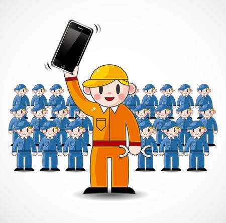 cartoon fix worker team Stock Vector - 11529642