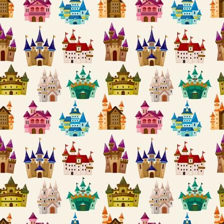 cartoon Fairy tale castle seamless pattern  Vector