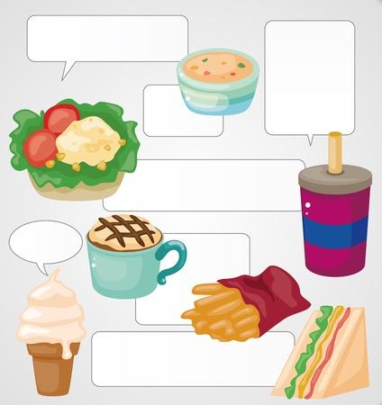 hot dog label: Cartoon fast-food card
