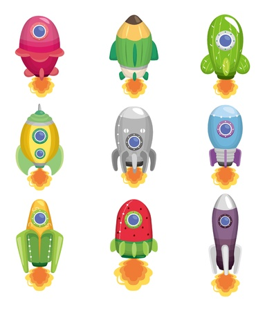 cartoon spaceship icon  Vector