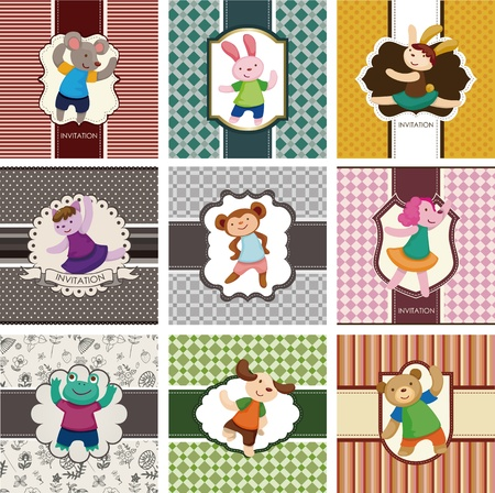 cartoon animal dancer seamless pattern Vector