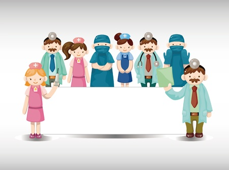 surgery doctor: cartoon doctor and nurse card Illustration
