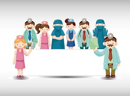 medico caricatura: dibujos animados m�dico y la enfermera tarjeta