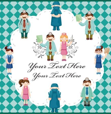 cross with care: cartoon doctor and nurse card Illustration