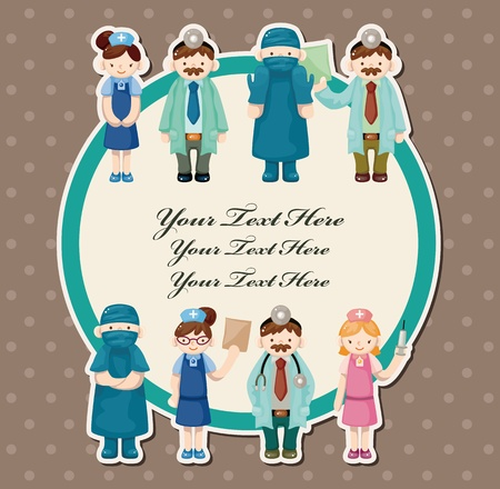 cartoon doctor and nurse card Stock Vector - 11529602