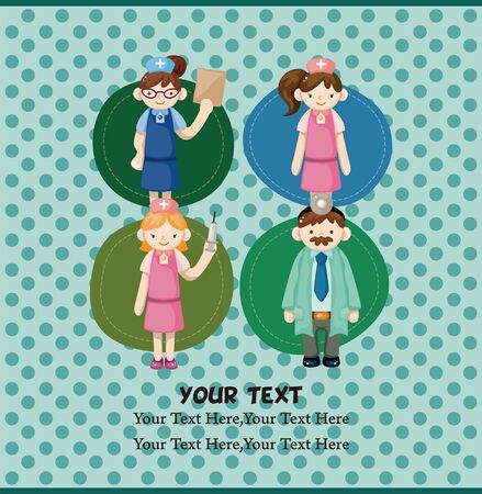 cartoon doctor and nurse card Stock Vector - 11529603
