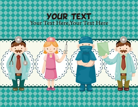 cartoon doctor and nurse card Vector