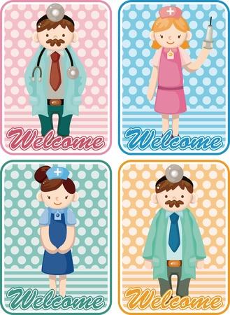 cartoon doctor and nurse card Vector