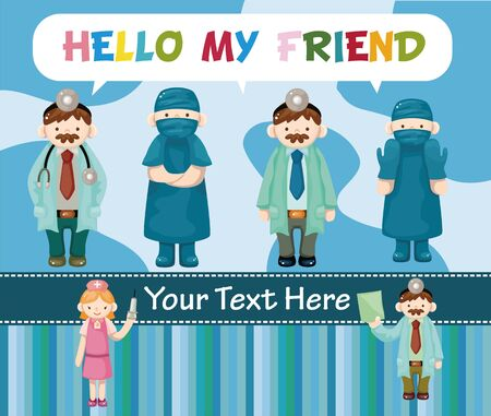 cartoon doctor and nurse card Stock Vector - 11529596