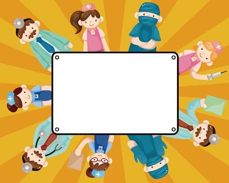 hospital germ: cartoon doctor and nurse card Illustration