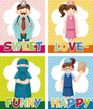 cartoon doctor and nurse card Stock Vector - 11529606