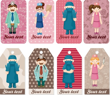 cartoon doctor and nurse card Stock Vector - 11529607