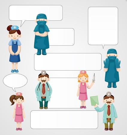 medico caricatura: dibujos animados médico y la enfermera tarjeta