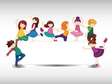 ballet slipper: de dibujos animados tarjeta de bailarina Vectores