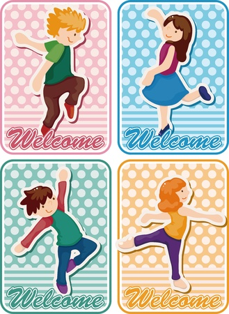 cartoon dancer card Vector