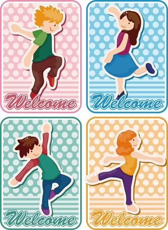cartoon dancer card Vector