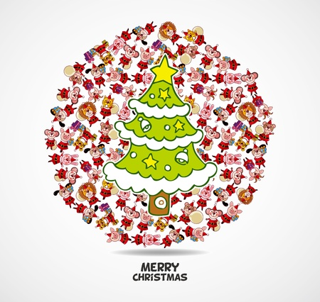 cartoon animal Santa Claus,xmas card  Vector