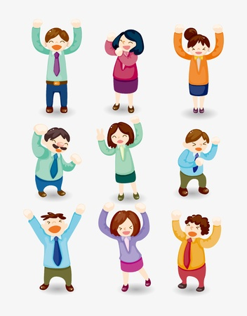 cartoon happy office workers icon Stock Vector - 11529551