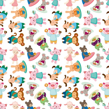 cartoon animal tea time seamless pattern Stock Vector - 11529525