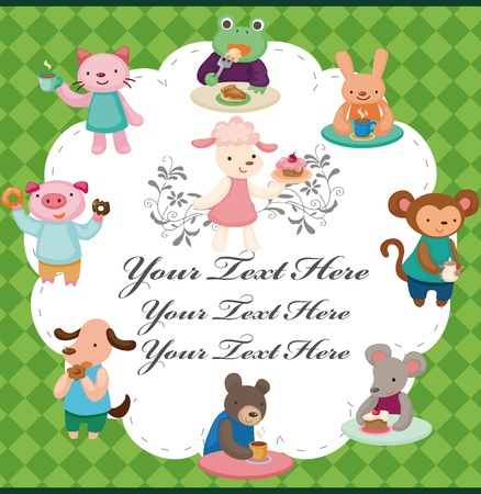 cartoon animal tea time card Vector
