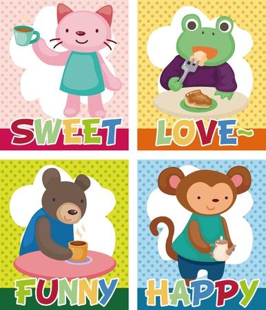 amigos comiendo: animales de dibujos animados la hora del t� tarjeta