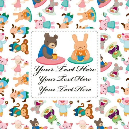 amigos comiendo: dibujos animados de animales tarjeta de la hora del t�