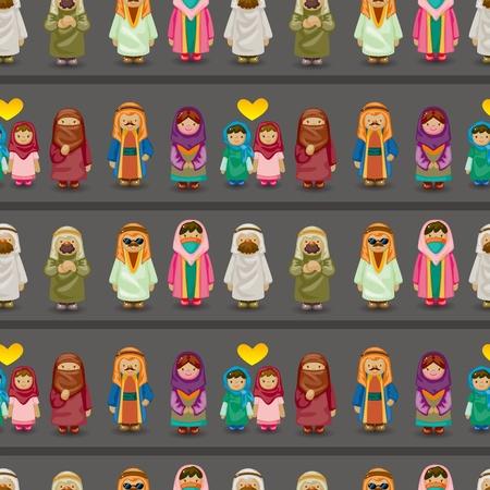 파키스탄: 만화 아라비아 사람들 원활한 패턴