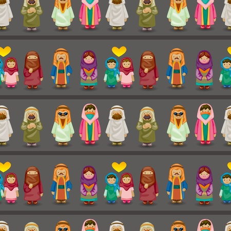 national costume: cartoon Arabian people seamless pattern