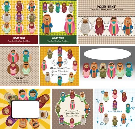 de dibujos animados de Arabia peopl tarjeta de Ilustración de vector