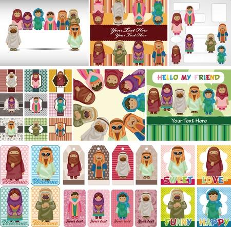 mujeres musulmanas: de dibujos animados de Arabia peopl tarjeta de