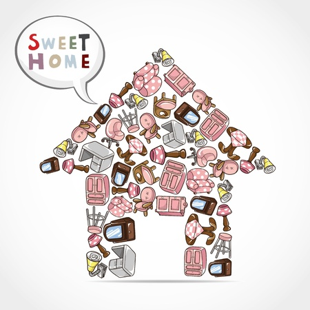 home furniture card  Vector