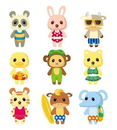 swim goggles: cartoon summer animal Illustration