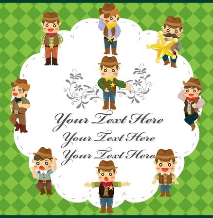 cartoon cowboy card Vector