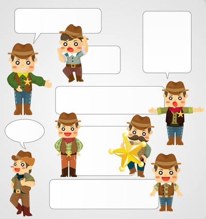 cartoon cowboy card Vector