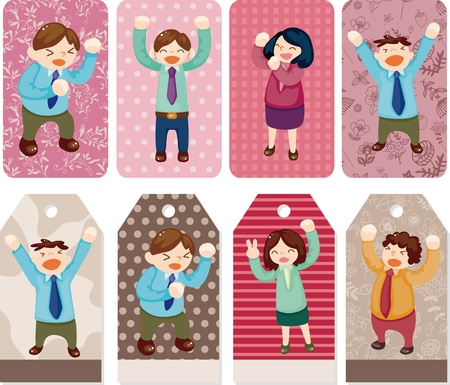 cartoon happy office workers  card Vector