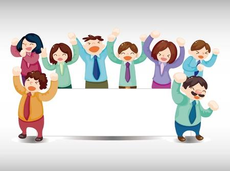 cartoon happy office workers  card