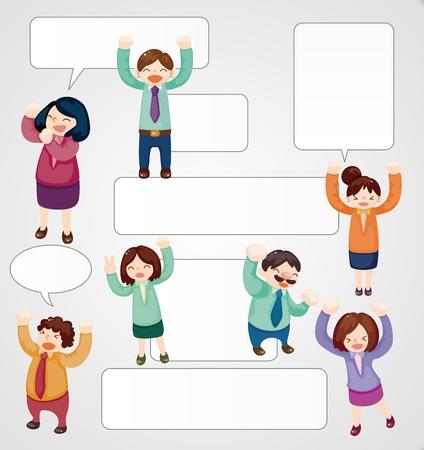 office party: de dibujos animados los trabajadores de oficina tarjeta de feliz