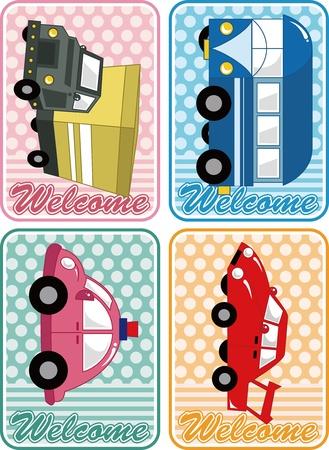 cartoon car card Vector