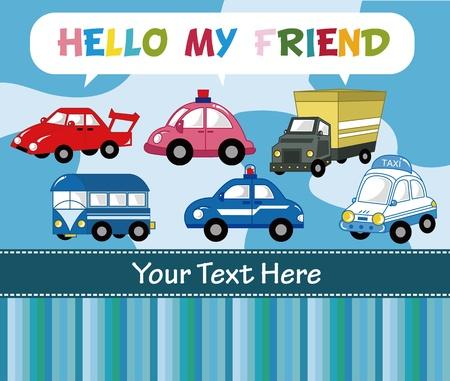 emergency vehicle: cartoon auto card