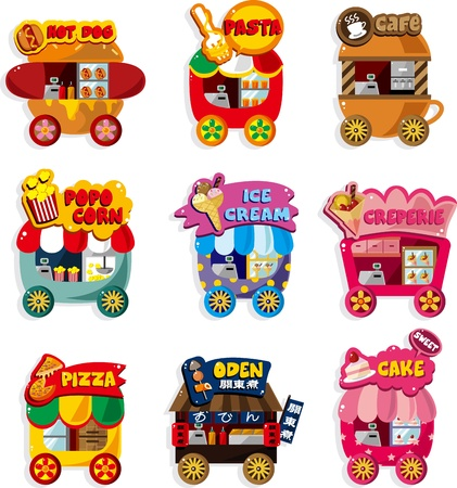 crepe: Cartoon market store car icon collection