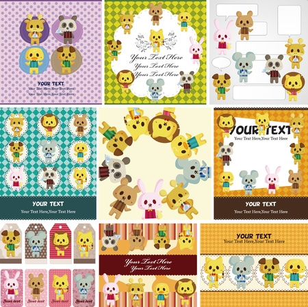 cute giraffe: cartoon animale card cameriere