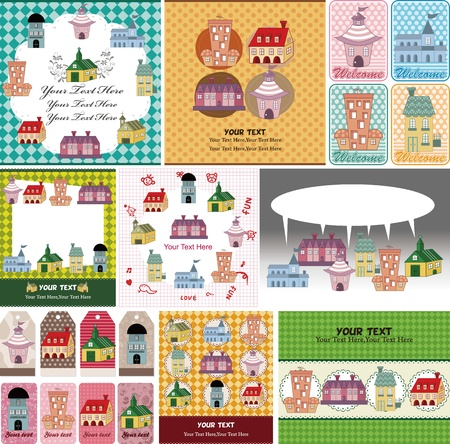 house party: cartoon house card Illustration