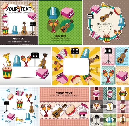 Musical instruments card Vector