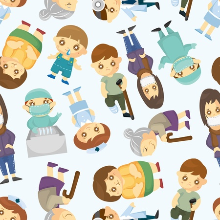 Doctors and Patient people seamless pattern Vector